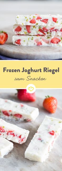 Eiskalte Frozen-Joghurt-Riegel mit Erdbeeren und Pistazien - Erdbeeren - die besten Rezepte - Snacking on yogurt without spooning it? Sure, as a frozen bar with fresh strawberries, roasted pistachios and a little honey, it's a great snack. Frozen Yogurt Bar, Greek Yogurt, Comida Diy, Healthy Dessert Recipes, Snacks Recipes, Healthy Snacks, Diy Snacks, Snacks Ideas, Paleo Dessert