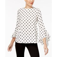 Olivia & Grace Button-Back Bell-Sleeve Blouse, Created for Macy's ($30) ❤ liked on Polyvore featuring tops, blouses, ivory cameo, wet look top, white blouse, white vest, white vest top and button back top