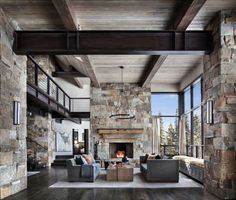 This mountain modern dwelling was designed by Centre Sky Architecture, located in the community of Moonlight Basin in Big Sky, Montana. modern home Incredible mountain modern dwelling offers slope-side living in Montana Modern Mountain Home, Mountain Homes, Mountain Club, Decor Interior Design, Modern Interior, Interior Designing, Interior Decorating, Modern Rustic, Modern Farmhouse