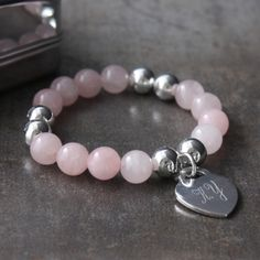 Rose Quartz Bracelet with Personalised Heart and Presentation Box