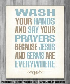 Bathroom Art Modern Vintage Print Wash Your Hands Say Your Prayers 8x10 11x14 CUSTOM COLORS Home Decor on Etsy, $12.00
