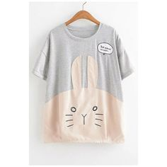 Basic Cartoon Rabbit Printed Letter Embroidered Round Neck Short... (82 BRL) ❤ liked on Polyvore featuring tops, t-shirts, short sleeve t shirt, rabbit t shirt, graphic tees, embroidery t shirts and comic book