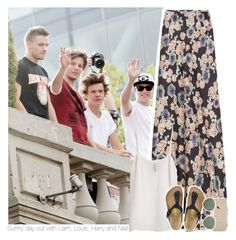"""""""Sunny day out with Liam, Louis, Harry and Niall"""" by mrsrofmalik ❤ liked on Polyvore featuring Gryphon, MANGO, Birkenstock and Ray-Ban"""