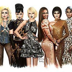 Illustration of my favorite Met Gala fashion 2016.  Which one do you like the most?  #2016 #metgala2016 #metball #metball2016 #art #illustration #illustrator #draw #fashionillustration #balmain #vercase #prada #hm #louisvuitton #ladygaga #katyperry #taylorswift #beyonce #zendaya #ciara