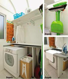 Lugar para tudo na lavanderia.