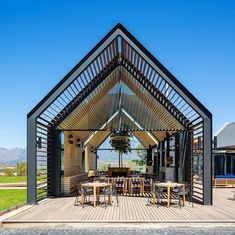 Idea Kombuis Restaurant by Steyn Studio in South Africa Casa Hotel, Restaurant Pictures, Dutch House, Wooden Terrace, Restaurant Seating, Modern Barn, House Front, Gazebo, Mansions