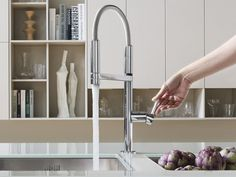 Professional kitchen mixer tap with pull out spray Move Collection by Carlo Nobili S.p.A Rubinetterie | design Marco Venzano