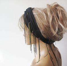 Black Head Scarf  Elastic Cotton Head wrap Summer by aynurdereli, $22.00