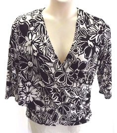 RONNI NICOLE II by Ouida Black and White Floral Wrap Top Blouse Women's Size 16 #RonniNicole #Blouse