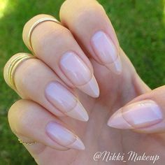 Nude French Tip on Stiletto Nails