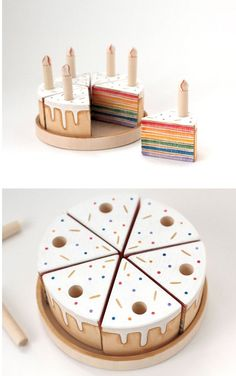 Handmade Gifts For Her, Handmade Ideas, Handmade Toys, Etsy Handmade, Rainbow First Birthday, Girl First Birthday, Rainbow Baby, Wooden Play Food, Wooden Toys