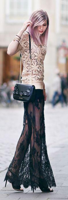 Blush And Black Boho Chic Style #Fashionistas