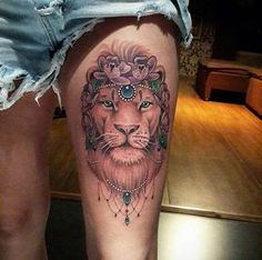 Gorgeous lion tattoo on thigh by Diogo Rocha