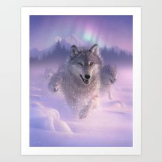 Wolf Pack Running - Northern Lights Greeting Card by Collin Bogle Nature Art - Set of 3 Folded Cards x Lighted Canvas, Snowy Day, Canvas Prints, Art Prints, Light Art, Canvas Frame, Graphic Art, Digital Prints, Northern Lights