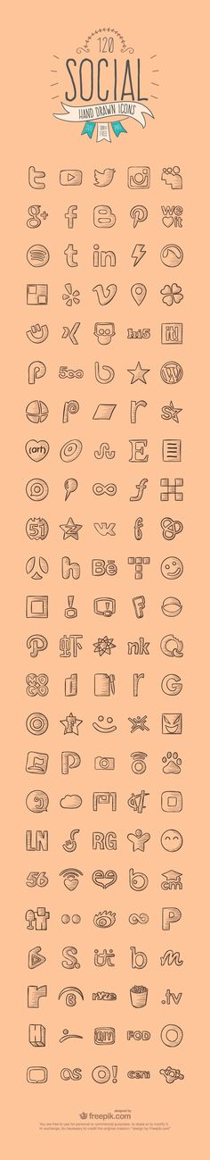 120 Hand Drawn Social Media Icons