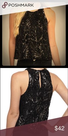 """Sequined Statement Top Black Sequined Statement Top. Scoop neck. Back keyhole button closure. Sequined all over. 100% Polyester. Fully lined. Approx 21""""L  [Trindy Clozet Boutique Policies]  ✅ Next Business Day Shipping (possibly same day) ✅ Retail prices are firm unless bundled.  ✅ No trades.  Find more styles on our website@  Spreesy.com/trindyclozet  Insta trindy_clozet FB TrindyClozet Twitter trindyclozet Tops Tank Tops"""