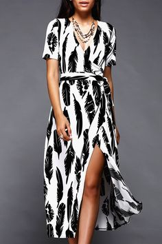 $23.52 Stylish Feather Print Wrap Dress For Women