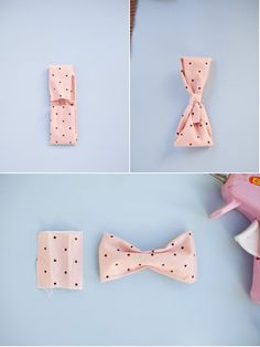 Super quick project with a ton of uses: DIY No-Sew Bow Ties | Style Me Pretty.