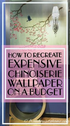 This tutorial for recreating expensive Chinoiserie wallpaper on a budget is the BEST!! It looks great and will save me tons of money on the wall in my dining room. Definitely pinning for later!
