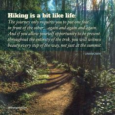 Hiking is a bit like life, enjoy the beauty along the way.- Hiking is a bit like life, enjoy the beauty along the way. Life Quotes Love, Great Quotes, Inspirational Quotes, Quotes Quotes, Camp Quotes, Truth Quotes, Awesome Quotes, Change Quotes, Attitude Quotes
