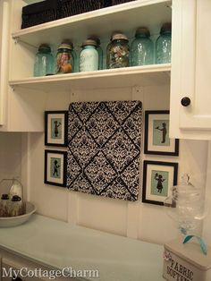 Tips for laundry rooms! 1: Don't be afraid to add pops of bold colors to personalize the space! 2: Camouflage detergents/bleach and other cleaners with unique storage containers 3: BE CREATIVE, how many guest go in your laundry room? use the space to really express yourself :) - Molly