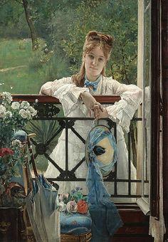 """Alfred Stevens (Belgian, 1823-1906), """"The blue ribbon"""""""