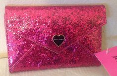 Betsey Johnson HOT PINK SPARKLE ENVELOPE CLOSURE PASSPORT CASE BS00005P #BetseyJohnson #PASSPORTCASE
