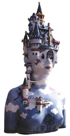 "Anna Maria Strzelczyk, Bust ""Castle"", private property. Anna Maria Strzelczyk born in 1949 in Gdańsk, studied at the State Art Academy in Gdańsk at the department of graphical design; graduated as a Master of Art in 1977. Since 1980 specializes in ceramic sculpture (majolica pottery). In 1984 won the Gold Medal of Rotary Club in Faenza. She participated in the International Competition of Ceramic Art in Faenza (1984), in Milano (1985 ) and Vallauris (1988)."