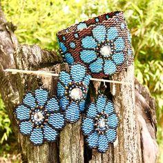 Chocolate miyuki bracelet sky blue and bronze flowers with