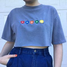 vintage m&ms brand grey raw hem crop top with - Depop Crop Top Outfits, Retro Outfits, Cool Outfits, Summer Outfits, Casual Outfits, Aesthetic T Shirts, Aesthetic Clothes, Ropa Color Pastel, Super Nana
