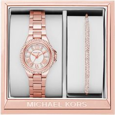 Michael Kors Petite Camille Rose Gold-Tone Watch And Slider Bracelet... ($195) ❤ liked on Polyvore featuring jewelry, michael kors, pave jewelry, petite jewelry, michael kors jewelry and rose gold tone jewelry