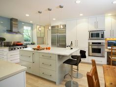 Interesting configuration. Contemporary White Kitchen - Kitchen Islands: Design Styles and Ideas on HGTV