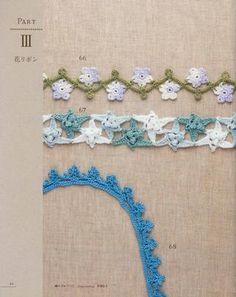 Asahi Lacework Flower Motif and patterns Crochet Borders, Crochet Flower Patterns, Crochet Stitches Patterns, Crochet Motif, Crochet Designs, Crochet Flowers, Crochet Lace, Filet Crochet, Crochet Books