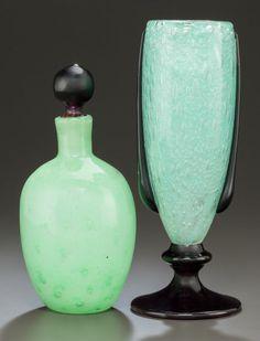 Art Glass:Schneider, CHARLES SCHNEIDER GLASS PERFUME BOTTLE AND LARMES VASE .Circa 1925, Engraved to vase: SCHNEIDER; FRANCE,