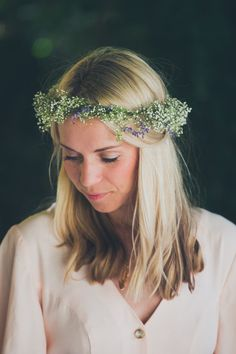 baby's breath head garland
