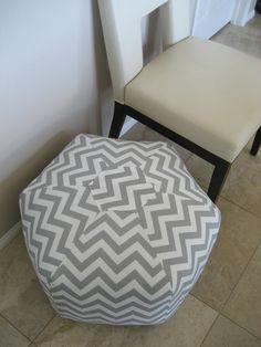 """24"""" Ottoman Pouf Floor Pillow Grey White Zig Zag Chevron. $105.00"""