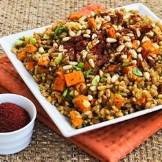 Recipe for Vegan Farro and Roasted Sweet Potato Salad with Pine Nuts and Tahini-Sumac Vinaigrette [from KalynsKitchen.com]
