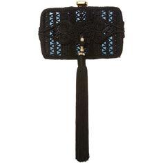 Elie Saab     Tassel Clutch (€2.625) ❤ liked on Polyvore featuring bags, handbags, clutches, black, tassel purse, elie saab and tassel handbags