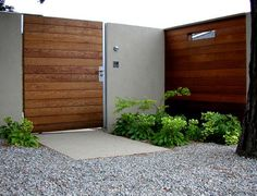 Architecture: Modern Entry Front Outdoor Wood Gate And Serene Entrance, Green Fence, Small Peek Modern Entry, Modern Exterior, Exterior Design, Wall Exterior, Fence Gate Design, Modern Fence Design, Wooden Side Gates, Wooden Doors, Wooden Gate Designs