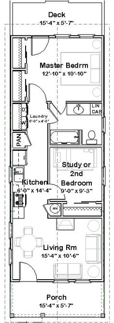 Shotgun House Plan | A Little Bit of This, That, and Everything / 44x16= 704 SF
