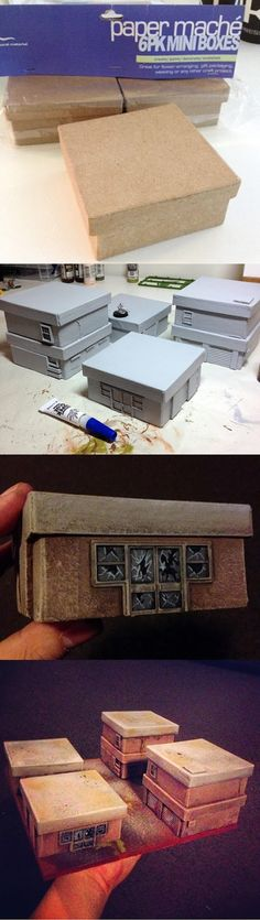 How to make miniature buildings for tabletop gaming miniatures resource tool how to tutorial instructions Warhammer Terrain, 40k Terrain, Game Terrain, Wargaming Terrain, Ideias Diy, Warhammer 40000, Tabletop Games, Model Building, Building Concept