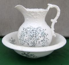 Old W P Labelle China Ironstone Pottery pitcher & wash basin blue green flowers