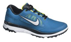 Shop for Nike Men's FI Impact Military Blue/ Venom Green/ White Golf Shoes. Get free delivery On EVERYTHING* Overstock - Your Online Golf Equipment Destination! Free Running Shoes, Nike Free Shoes, Nike Shoes, Sneakers Nike, White Golf Shoes, Spikeless Golf Shoes, Sports Footwear, Sports Shoes, Baskets