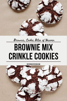 Crinkle Cookies Cake Mix, Brownie Mix Cookies, Yummy Cookies, Cupcake Brownies, Baking Cookies, Brownie Mix Recipes, Cake Mix Cookie Recipes, Dessert Recipes, Brownie Mix Desserts