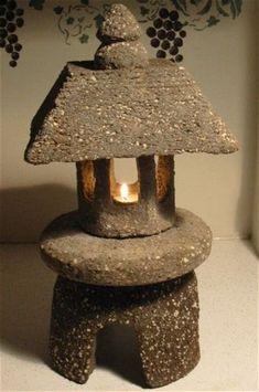 small japanese stone garden lantern will brighten your. Black Bedroom Furniture Sets. Home Design Ideas