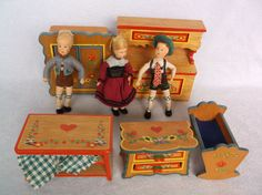 "Vintage Hand Painted Wood Dollhouse Furniture, 5"" Erna Meyer Dolls - Germany"