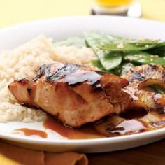 Pineapple-Teriyaki Chicken Recipe  http://www.eatingwell.com/recipes/pineapple_teriyaki_chicken.html
