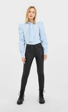 Coated high waist trousers in Stradivarius for only £ available for a limited time. null for women always on trend, come in and find out now! Trousers Women, Collection, Jeans, Outfits, Black, France, Ecuador, United Kingdom, High Waist