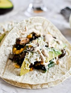Grilled corn, mushroom and roast poblano tacos with chipotle crema