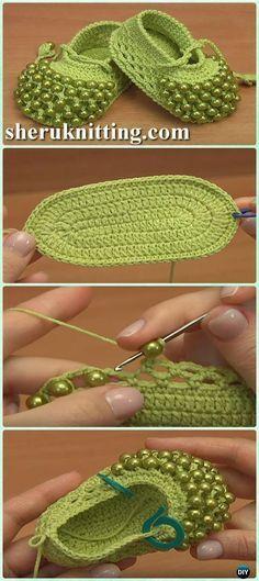 Crochet Beaded Baby Booties Shoes Free Pattern - 3Crochet Baby